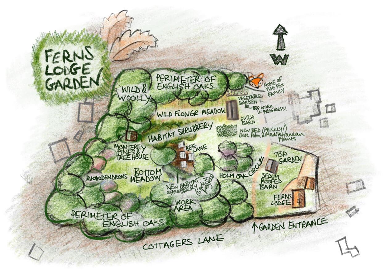 Ferns Lodge Garden Map