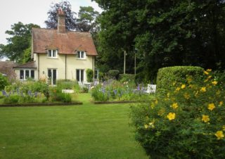 Top garden looking up to the Lodge House. | NGS Garden Ferns Lodge